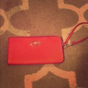 Coral pink Coach zipper wallet